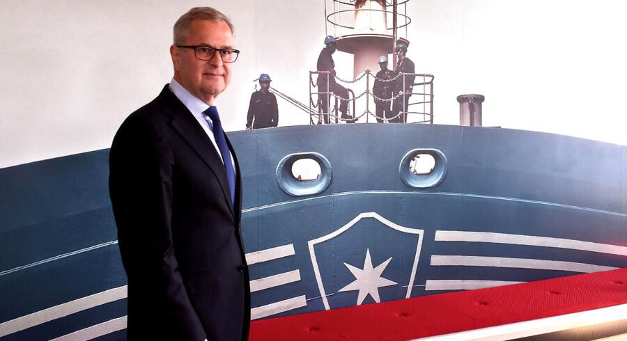 Det er svært at slå et smil af Mærsk-topchefen, Søren Skou. Den historiske tranformation er da heller ikke fuldført. Kontrakter og frasalg er på plads, men, men, aktionærerne må stadig se langt efter de gyldne afkast. Aktionærernes tålmodigheden er sat på en hård prøve. Arkivfoto.