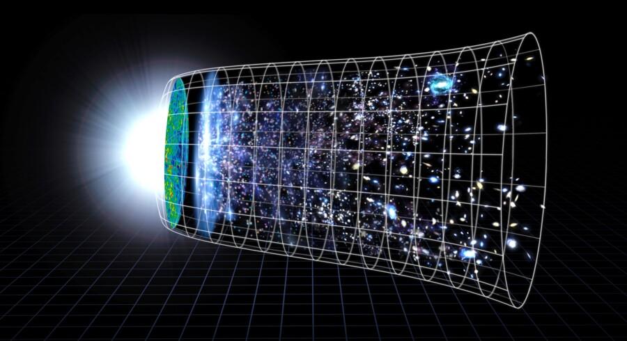 Sådan forestiller man sig i NASA universets evige og gennem de sidste mange milliarder år endda accelererende udvidelse siden Big Bang.