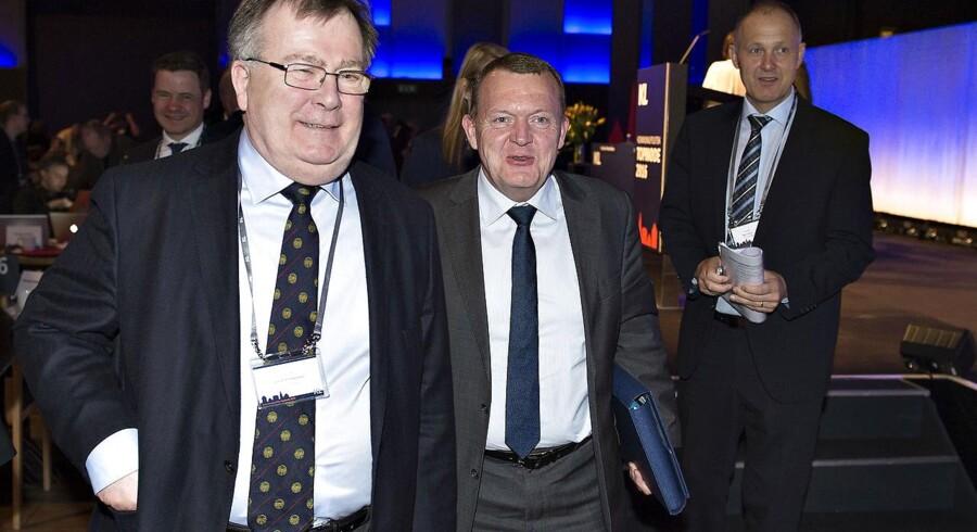 Tre af hovedaktørerne på KL-topmødet i Aalborg, Claus Hjort Frederiksen, Lars Løkke Rasmussen og KL-formand Martin Damm.