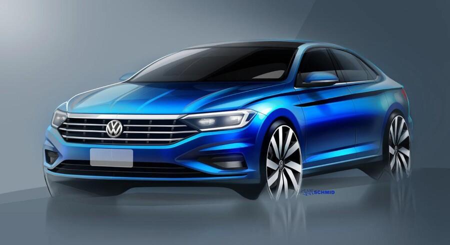 Den nye Volkswagen Jetta har verdenspremiere i januar på den årlige biludstilling i Detroit. De første skitser viser en større bil med et mere interessant design, som minder noget om Arteons