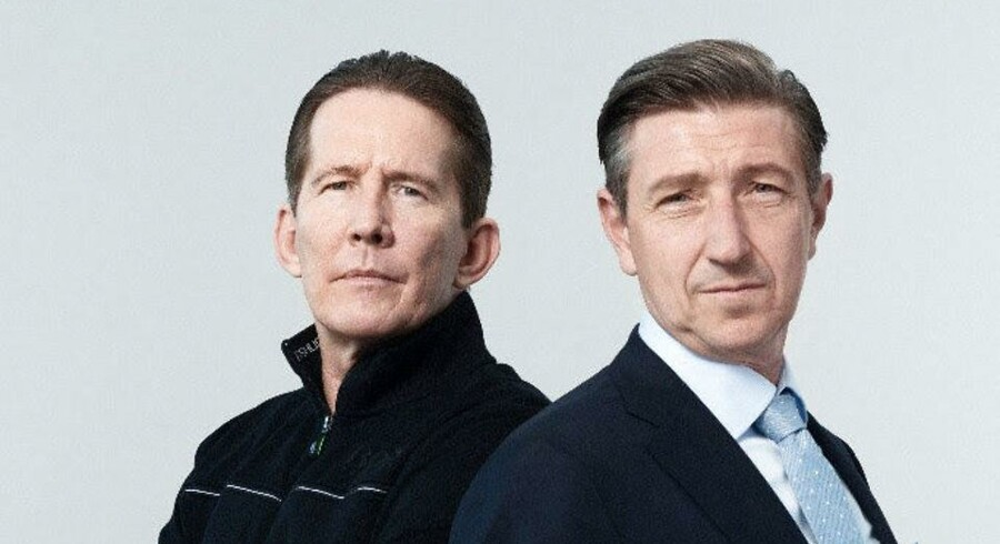 "Thomas Bo Larsens og Nicolaj Kopernikus' medvirken fremhæves i TV3s og Viaplays danske annoncering af spændingsserien ""Advokaten"". Foto: Viaplay."