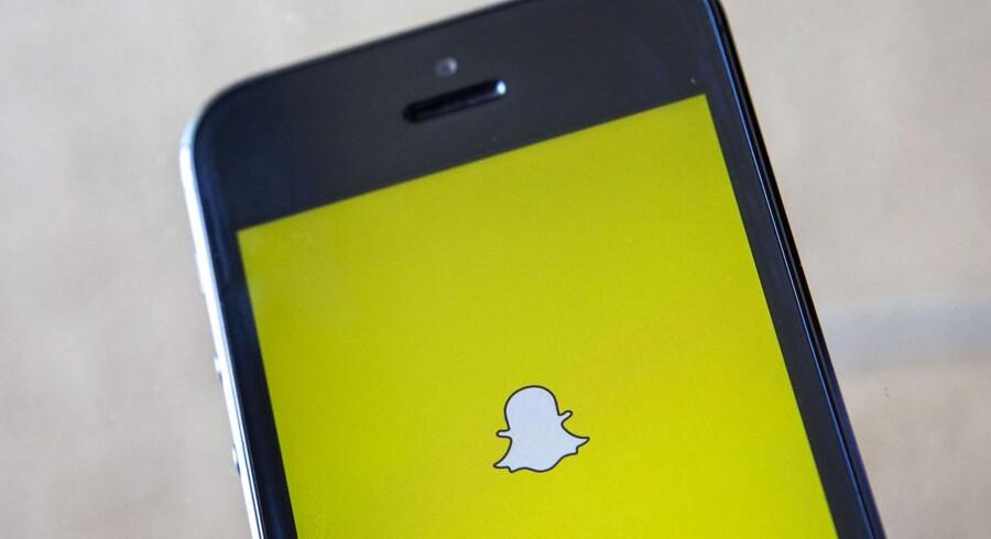 Snapchat bruger spøgelset her som logo for sin beskedtjeneste, hvor beskederne forsvinder, kort efter at man har læst dem. 100 millioner bruger Snapchat, der nu vil børsnoteres. Arkivfoto: Eric Thayer, Reuters/Scanpix
