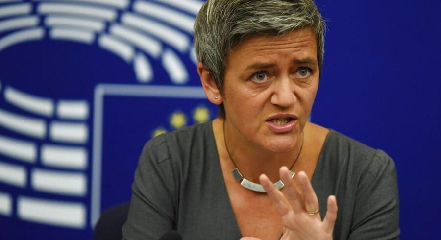 EUs konkurrencekommissær, Margrethe Vestager, ville forbyde fusionen mellem Telia og Telenor i Danmark. Arkivfoto: Patrick Seeger, EPA/Scanpix