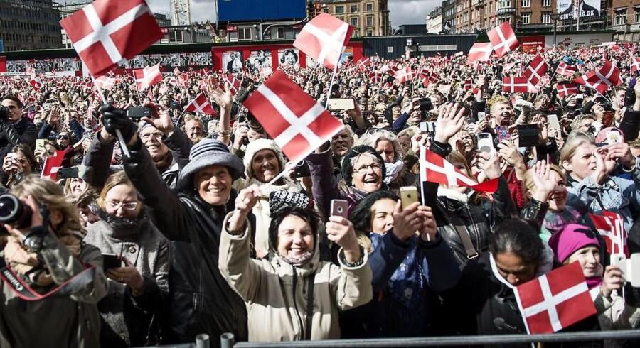Dronning Margrethe blev hyldet af folket foran Københavns Rådhus i forbindelse med 75-årsfødselsdagen i april 2015.
