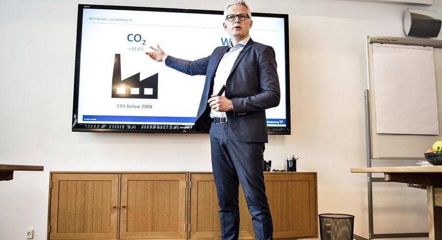 CEO Mads Nipper fra Grundfos ses her ved fremlæggelsen af årsresultatet i koncernen i Bjerringbro, tirsdag den 13. marts 2018.. (Foto: Henning Bagger/Scanpix 2018)