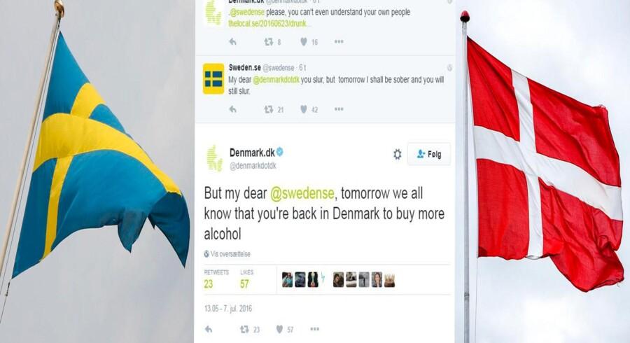 Danmark og Sverige var i løbet af torsdagen i ordkrig på Twitter.