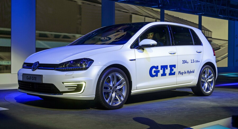 The new Volkswagen Golf GTE is presented as World premiere during a preview show by Volkswagen Group on March 3, 2014 on the eve of the press day of the Geneva Motor Show in Geneva. AFP PHOTO / FABRICE COFFRINI