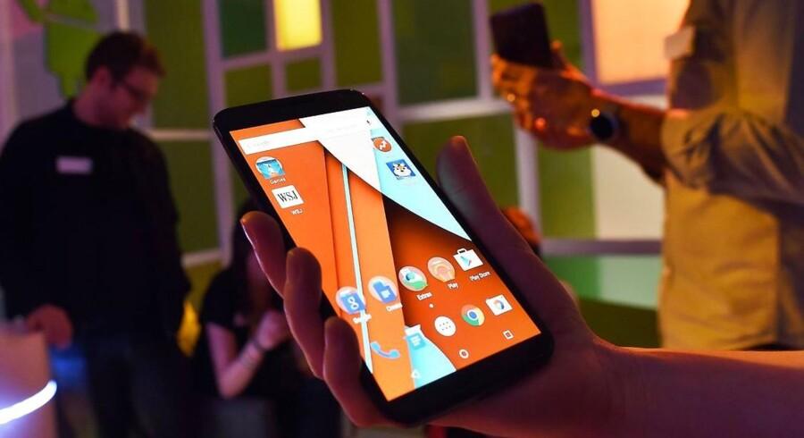 Trods massive markedsandele fortsætter det Google-ejede styresystem Android med at gå frem. Arkivfoto: Jewel Samad, AFP/Scanpix