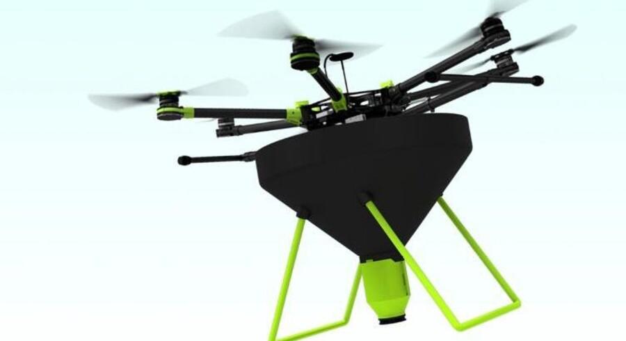 Droner kan blandt andet bruges til at tæppebombe utøj med mariehøns i landbrugets marker. Billedet af dronen er en grafisk illustration udført for firmaet Ecobotix . (Foto: Ecobotix/Scanpix 2016) Scanpix/Ecobotix