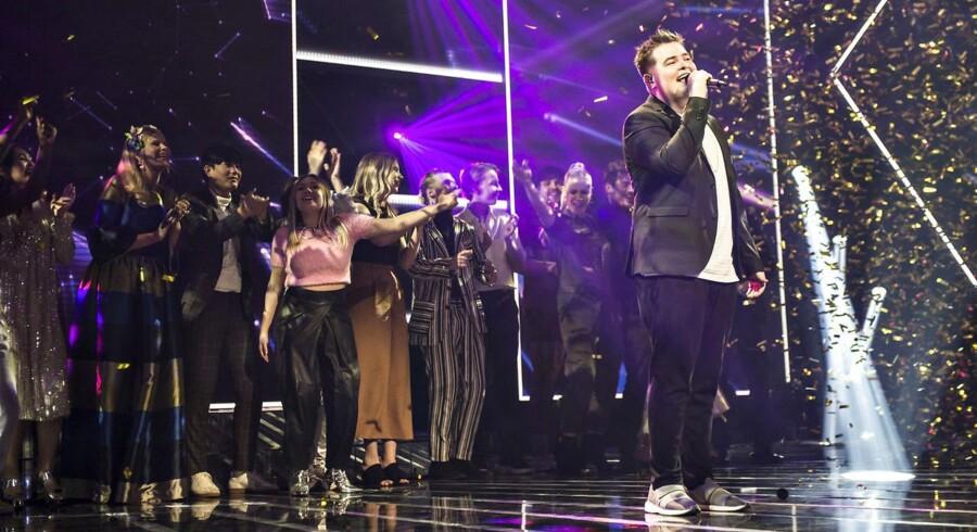 X Factor finale den 31. marts 2017. Her er det vinderen Morten Nørgaard med sit eget nummer 'The Underdog'
