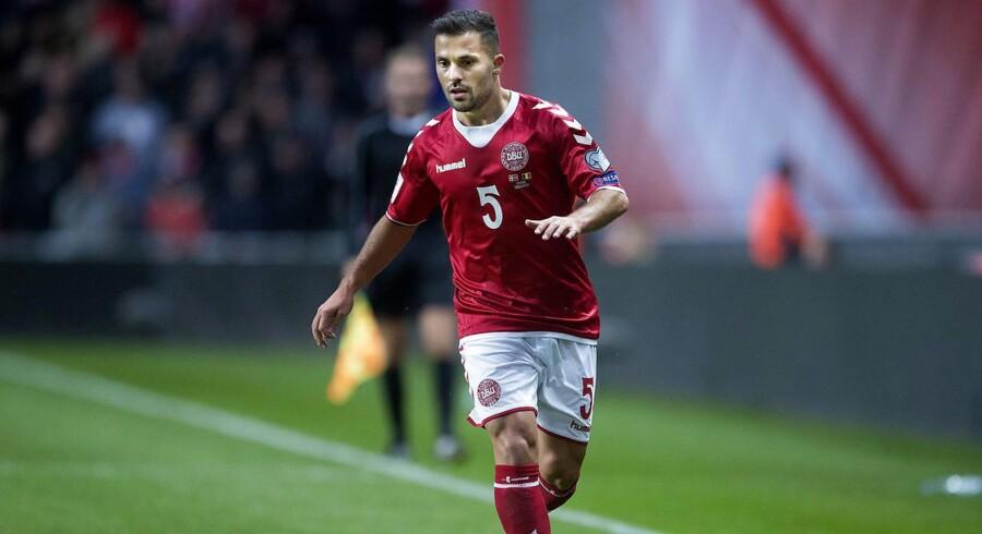 Danmarks Riza Durmisi under VM-kvalifikationskampen mellem Danmark-Rumænien i Telia Parken søndag d. 8 okt.. (Foto: Liselotte Sabroe/Scanpix 2017)