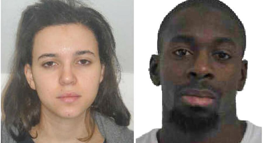 Politiet har udsendt billeder og efterlyser den 32-årige mand Amédy Coulibaly og hans 26-årige kone, Hayat Boumeddiene.