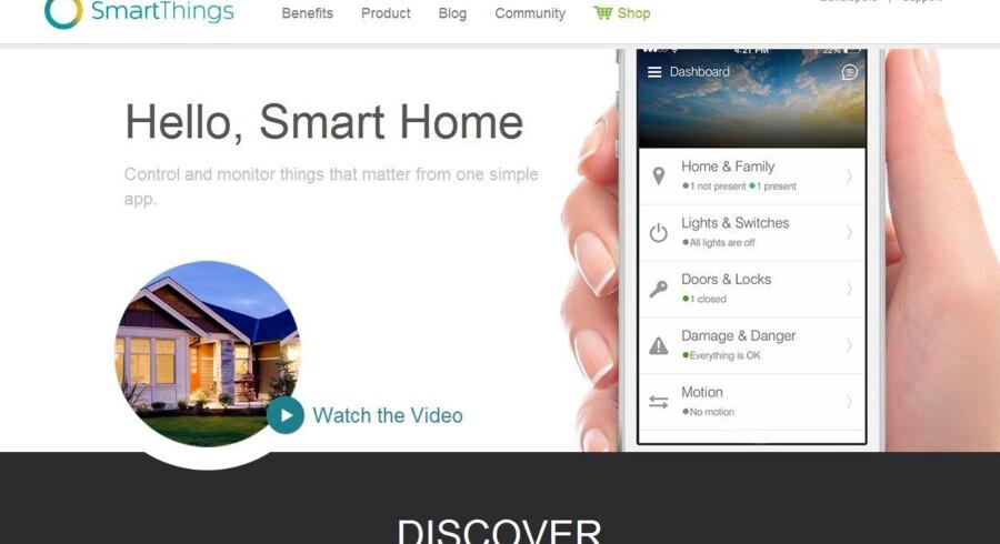 Verdens største mobilproducent, Samsung, har købt SmartThings i USA, hvis mobilprogram kan styre f.eks. lamper, dørlåse og termostater i hjemmene.