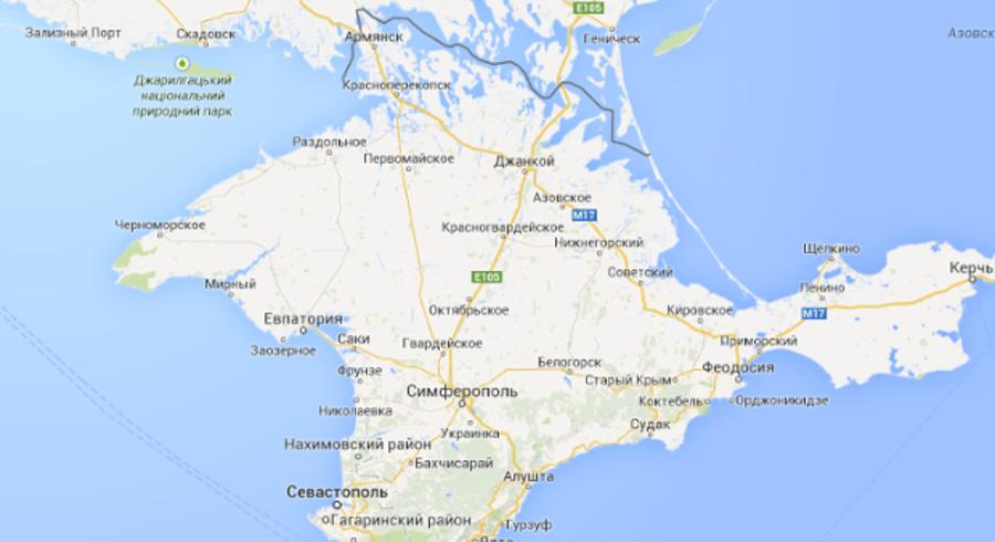 Grænseoptegnelserne om Krim, som det ser ud, hvis man søger efter halvøen i Rusland. Der er dog stor variation på Googles definitioner, alt efter hvor man søger fra. Screendump: Google Maps.