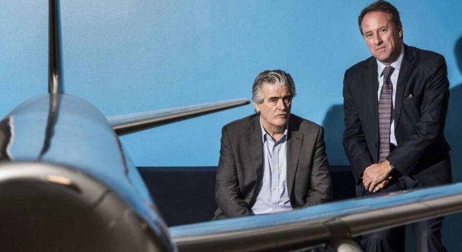SAS sælger Cimber til irske CityJet. Her er det CityJets bestyrelsesformand, Pat Byrne (t.v.) og operationel koncerndirektør for SAS, Lars Sandahl Sørensen (t.h.).