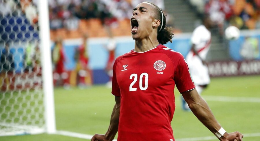 Yussuf Poulsen bragte Danmark foran 1-0 med en halv time igen, da Danmark vandt over Peru i holdenes første kamp ved VM i Rusland. EPA/ERIK S. LESSER