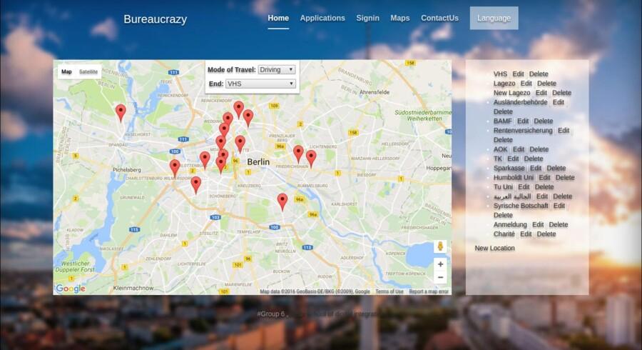 To snarrådige syriske flygtninge i færd med at udvikle en mobil-app med det passende navn »Bureaucrazy«. Med app'en kan rådvilde asylansøgere indtaste oplysninger på deres modersmål og lade software oversætte det til tysk. App'en kan også udskrive formularer og indeholder desuden et kort over forskellige offentlige kontorer og myndigheder.