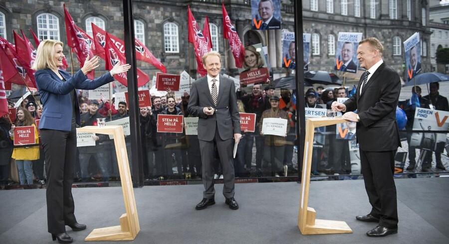 Helle Thorning-Schmidt og Lars Løkke Rasmussen under debat på TV 2. De kan begge føle sig ret sikre på at blive valg.