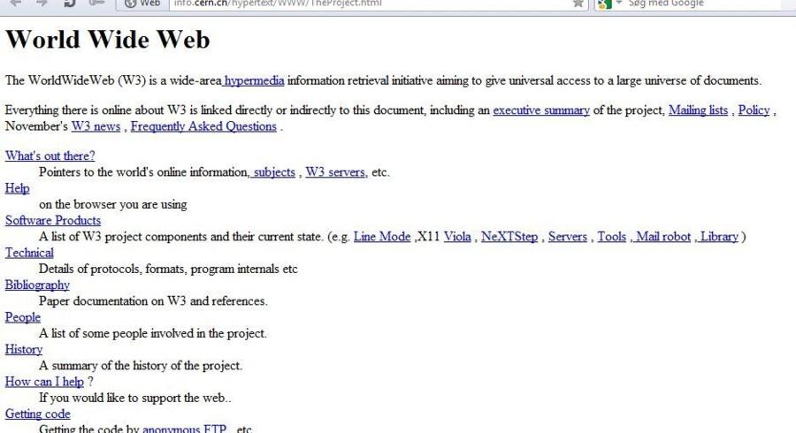 Sådan så den ud, verdens første netside med klikbare links, som vi i dag bare tager for givet. Den har været forsvundet i mange år men er nu blevet fundet og lagt tilbage på nettet.
