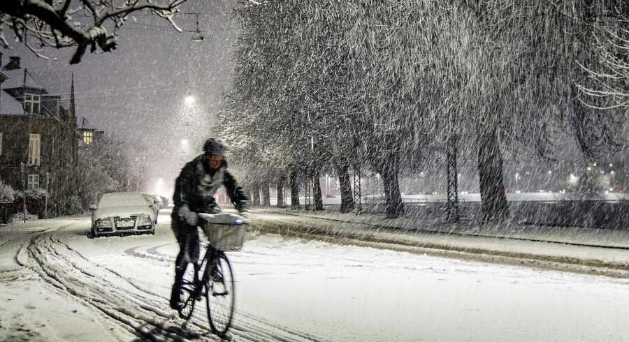 Torsdag d. 23. februar 2017 ramte en snestorm Danmark. Her er sneen kommet til København. Øster Søgade på Østerbro.. (Foto: Bax Lindhardt/Scanpix 2017)