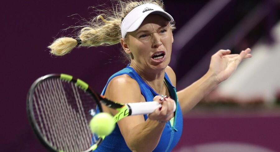 Caroline Wozniacki tabte sin første finale i 2017. Scanpix/Karim Jaafar