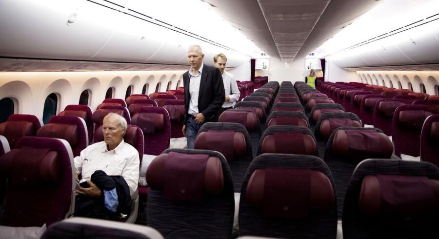 Der er plads til 22 Business Class passagere og 232 Economy passagerer på Qatar Airways Dreamliner. Qatar Airways var det første flyselskab, der indfører daglige flyvninger med langdistanceflyet Boing 787 Dreamliner til og fra Skandinavien, og nu udvider de igen. (Foto: Erik Refner/Scanpix 2013)