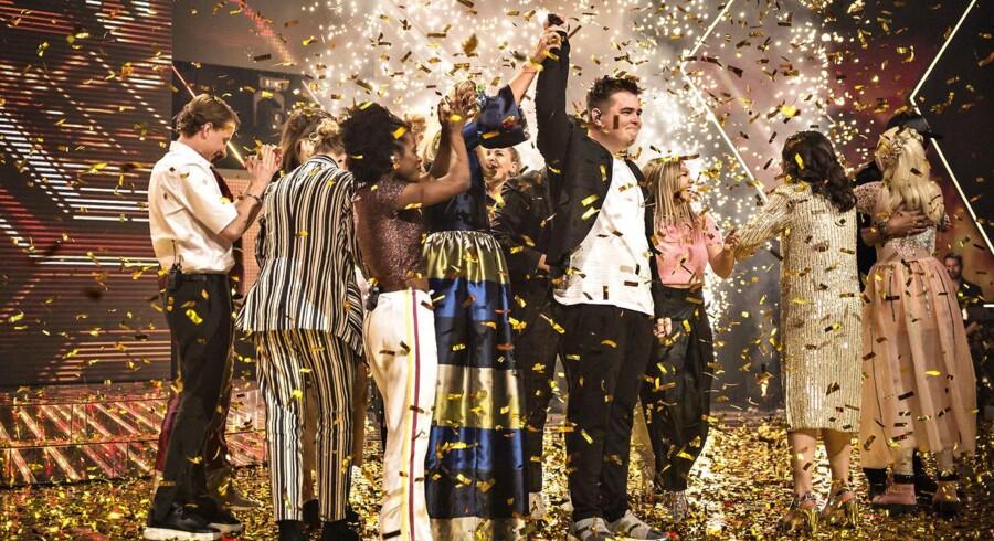 X Factor finale den 31. marts 2017. Her er det vinderen Morten Nørgaard.. (Foto: Ida Guldbæk Arentsen/Scanpix 2017)