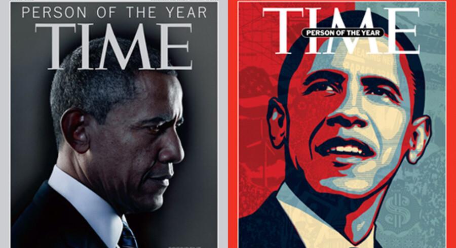 Barack Obama er igen blevet kåret til Årets Person i Time i 2012 (tv.). Det blev han også i 2008 (th.).