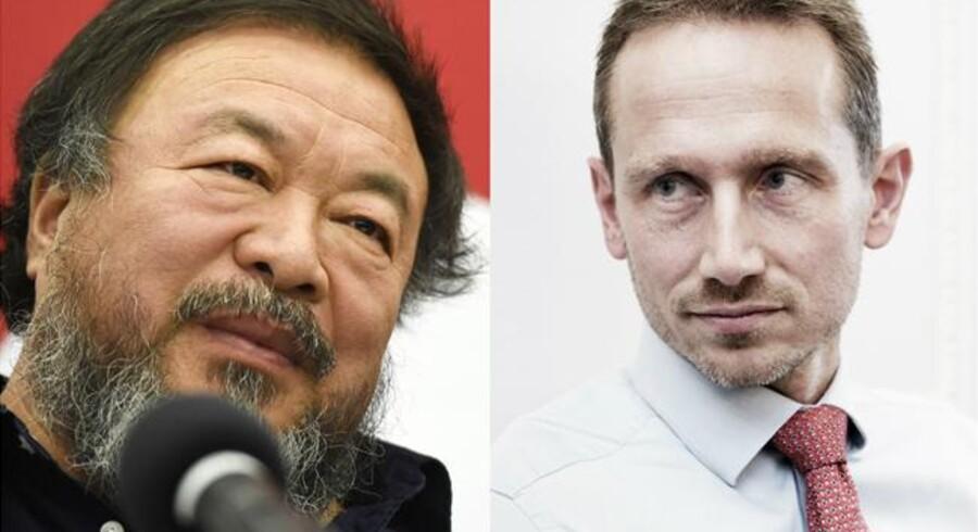 Til venstre: Ai Weiwei. Til højre: Udenrigsminister Kristian Jensen.