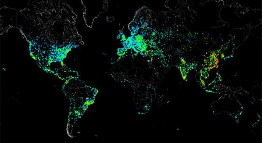 Carna Botnet visualiserede i december 2012 den globale brug af internettet ved måling af dataaktivitet.