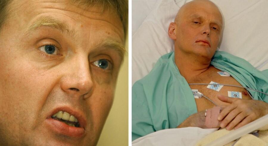Alexander Litvinenko (tv.) som han så ud før polonium-forgiftningen i 2006 og (th.) som han så ud på University College Hospital i London 20. November 2006. Kort efter døde han.