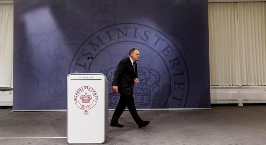 Statsminister Lars Løkke Rasmussen holder pressemøde i Statsministeriet i forbindelse med Eva Kjær Hansen-sagen.