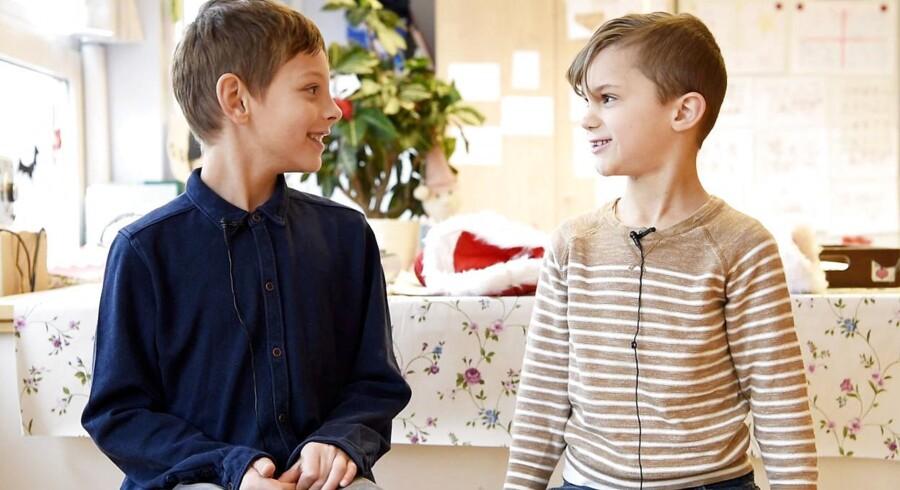 Berlingskes julekalender. Erik og Milo fra 0.B på Sankt Annæ Skole på Amager.