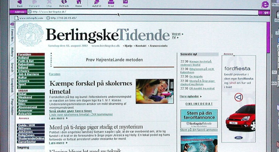 Hjemmeside fra Berlingske Tidende anno 2002.