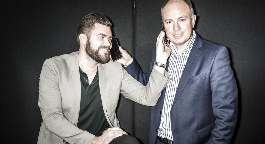 Manden bag Onfone og Mofibo, Morten Strunge (til venstre), og Fullrate-medstifter Peter Mægbæk (til højre) har fået de første 5.000 abonnenter i deres fælles, nye mobilselskab, Plenti. Arkivfoto: Asger Ladefoged