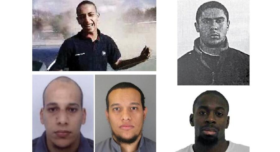 Mohamed Merah (øverst t.v.), Cherif og Said Kouachi (nederst t.v.), Mehdi Nemmouche (øverst t.v.) og Amedy Coulibaly (nederst t.v.) er fem billeder på moderne europæisk jihad-terror. De er alle yngre mænd uden børn, universitetsgrader eller faglige udmærkelser. Men med en barndom, som lod meget tilbage at ønske, og en hale af domme for alt fra tyveri og narkosalg til planlægning og udførelse af terror efter sig. Fire af dem blev dræbt i forbindelse med udførelsen af sidstnævnte. Kun Mehdi Nemmouche (sort-hvid), som er anholdt og sigtet for angrebet mod det jødiske museum i Bruxelles i maj sidste år, er stadig i live.
