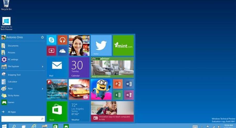 Windows 10 bringer den efterlyste startmenu tilbage og kombinerer den med den farvede ikonflade. Windows 10 kommer formentlig først til efteråret og udvikles konstant. Skærmbilledet her er derfor ikke den nyeste udgave. Foto: Microsoft