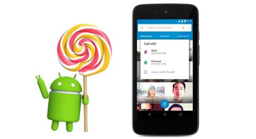 Med den nye Android 5.1-software (med tilnavnet Lollipop eller Slikkepind) kan man på telefoner, som kan håndtere to SIM-kort, nu vælge undervejs, hvilket nummer man vil bruge til f.eks. at ringe fra som her. Foto: Google