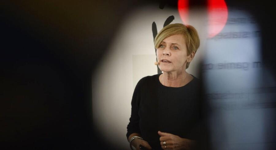 Kulturminister Mette Bock (LA), da hun præsenterede regeringens udspil til et nyt medieforlig, og stadig håbede på bredt forlig