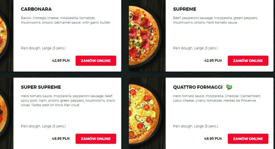 Pizzahut-kædens lokale afdeling i Polen har taget »Pizza Paella« af kortet – til gengæld kan »Norwegian« med laks og bechamelsauce måske friste nordiske ganer, mens italienske turister kan »glæde« sig over, at pizzariaet har kastet sig ud i en model »Carbonara«.
