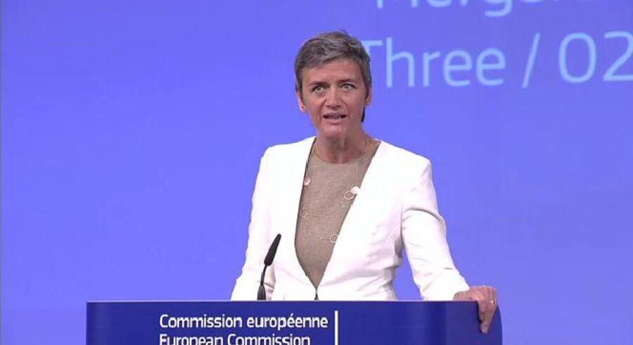 Margrethe Vestager præsenterede tirsdag middag beslutningen om at blokere for den store telefusion i Storbritannien. Foto: EUs net-TV