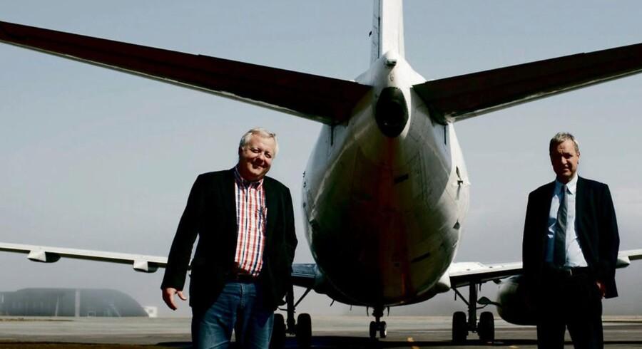 Jet Times fratrådte topchef Klaus Ren (th.) og storaktionær og bestyrelsesformand Lars Thuesen (tv)