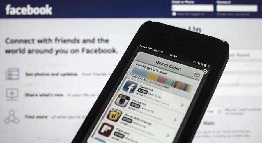 Facebook betalte 110 millioner euro for det israelske IT-selskab Onavo, hvis program kan nedbringe omkostningerne ved at bruge mobildata. Arkivfoto: Oliver Weiken, EPA/Scanpix