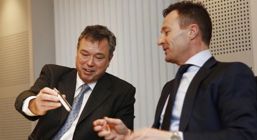 Novozymes' topchef Peder Holk Nielsen og finansdirektør Benny Loft.