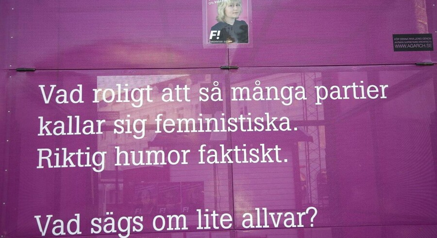 Valgkamp i Sverige. Her for partiet Feministisk Initiativ med talskvinden Sofia Karlsson.