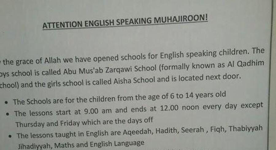 Denne annonce er lagt på nettet af IS, som søger både elever og lærere til deres to nye engelsksprogede skoler.
