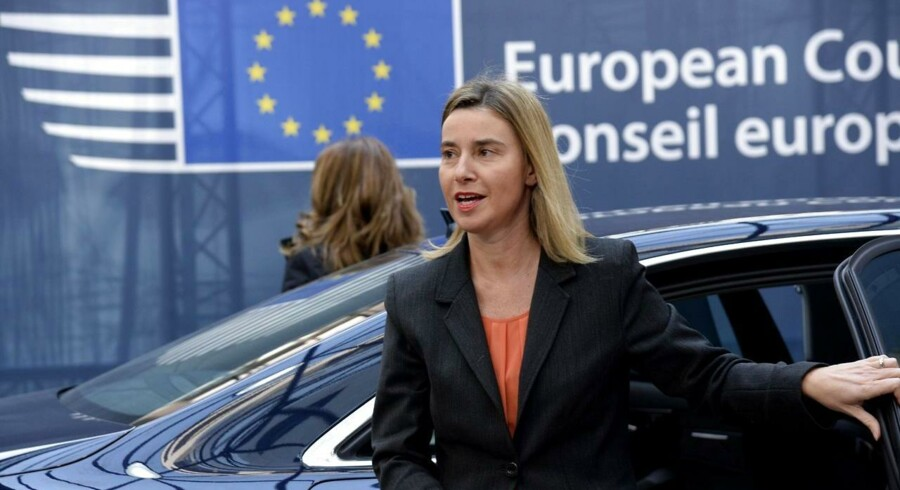 European Union foreign policy chief Federica Mogherini arrives ahead of the European Council Summit at the European Union (EU) Headquarters in Brussels on February 12, 2015 AFP PHOTO / THIERRY CHARLIER