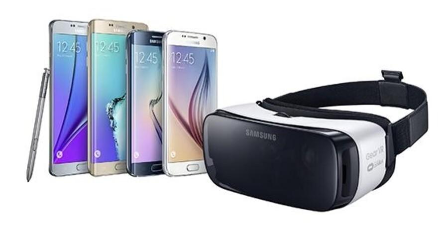 Samsungs Gear VR-briller virker kun med de nyeste Samsung-telefoner, som fysisk lægges ind i brillerne, der i sig selv vejer 310 gram, og dermed tilfører den virtuelle virkelighed. Foto: Samsung