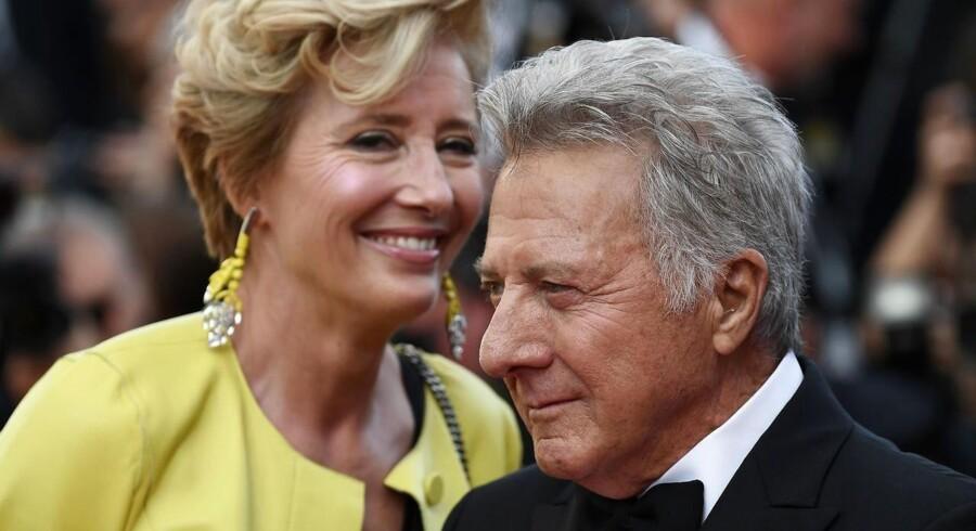 Dustin Hoffman og Emma Thompsonpå den røde løber søndag aften i Cannes.