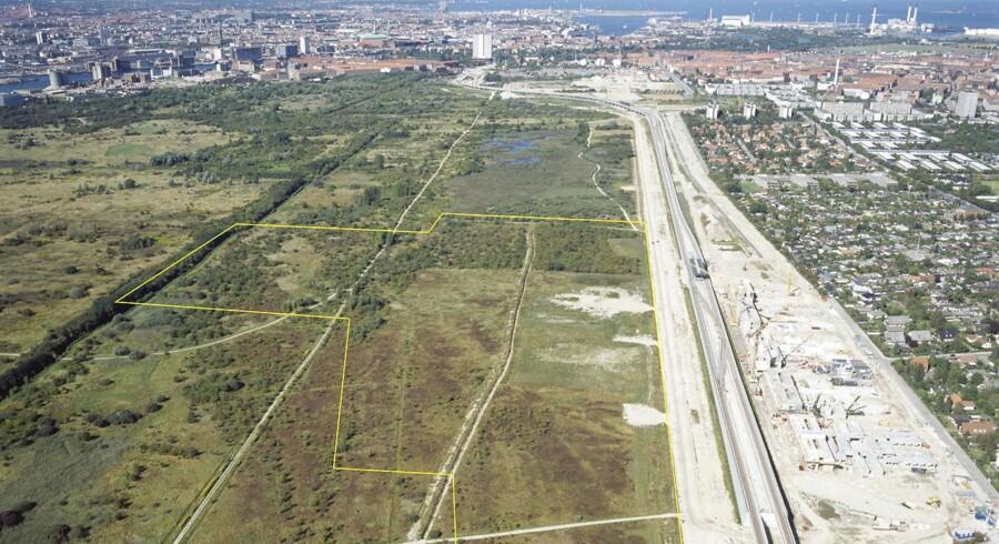 Luftfoto af Amager Fælled set fra syd mod nord. I forgrunden Vejlands Allé.